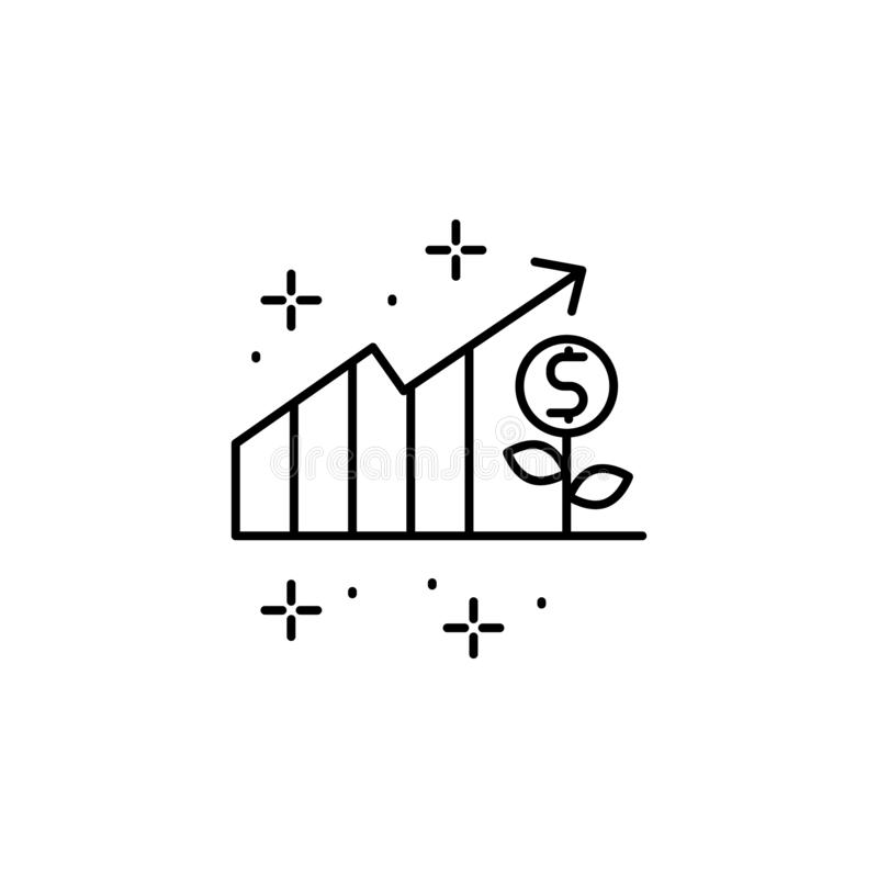 Chart, money, plant icon. Element of modern business icon. On white background vector illustration
