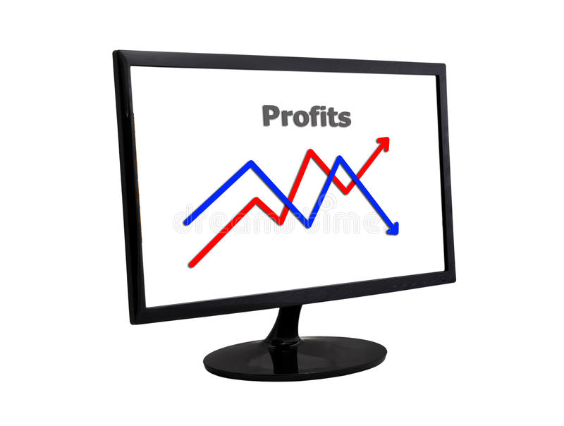 Chart In Monitor Royalty Free Stock Images