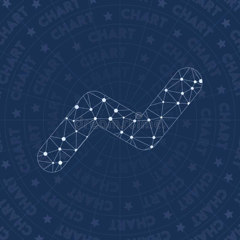 Chart network symbol. Admirable constellation style symbol. Ravishing network style. Modern design. Chart symbol for infographics or presentation stock illustration