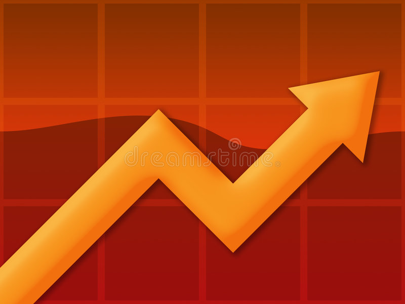 Chart Orange. A chart or graph showing an up trend stock illustration
