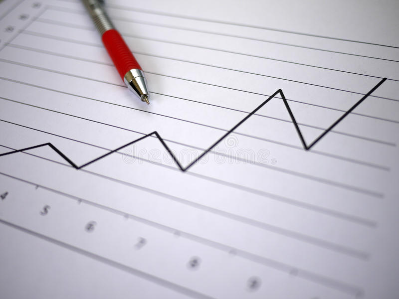 Chart and pen stock photo