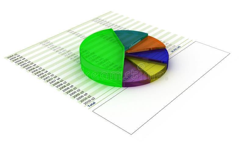 Chart pie. 3d colored chart pie on financial printout stock illustration