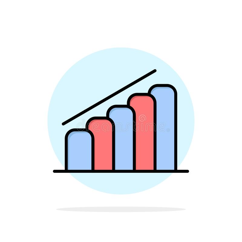 Chart, Progress, Report, Analysis Abstract Circle Background Flat color Icon royalty free illustration