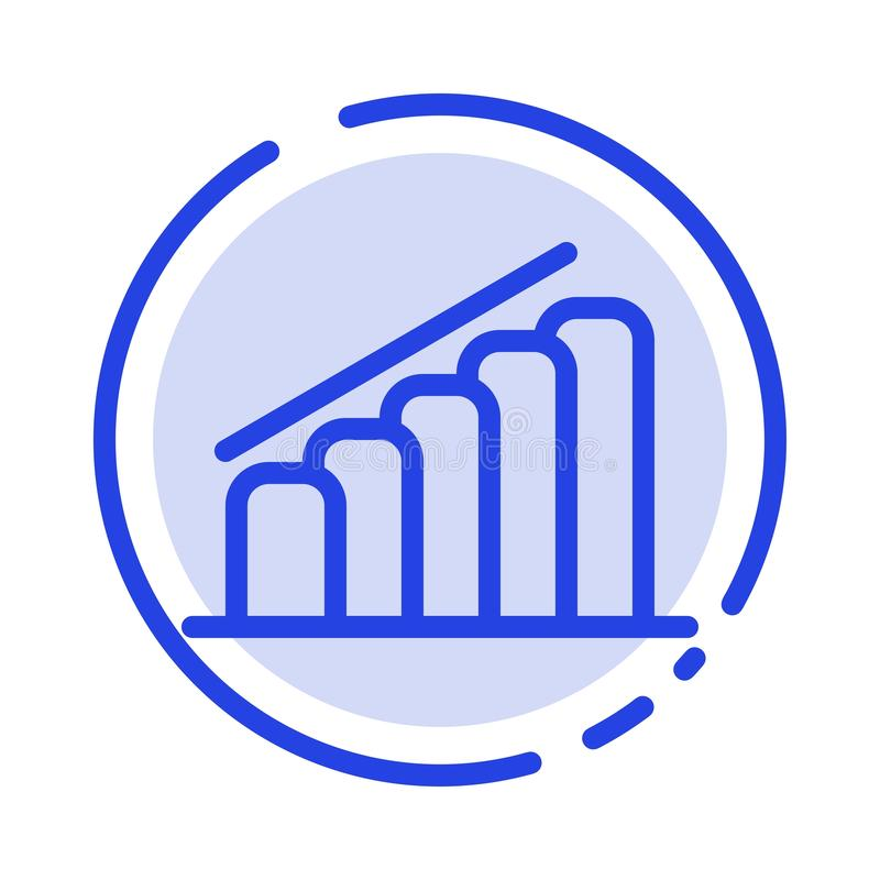 Chart, Progress, Report, Analysis Blue Dotted Line Line Icon stock illustration