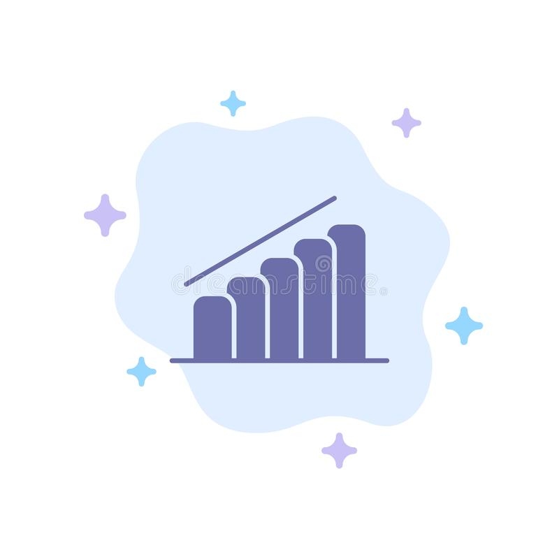 Chart, Progress, Report, Analysis Blue Icon on Abstract Cloud Background stock illustration