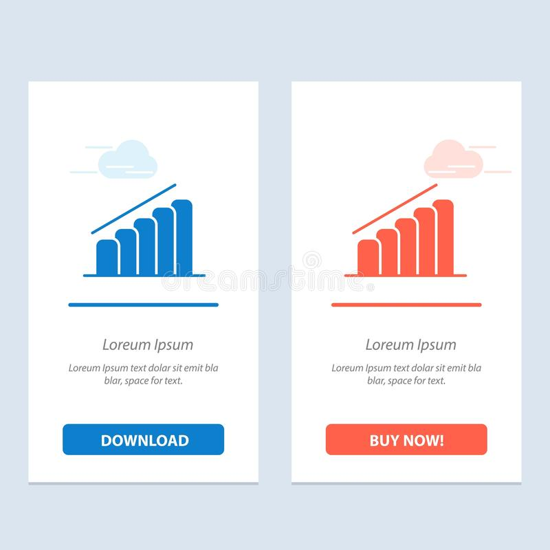 Chart, Progress, Report, Analysis  Blue and Red Download and Buy Now web Widget Card Template vector illustration