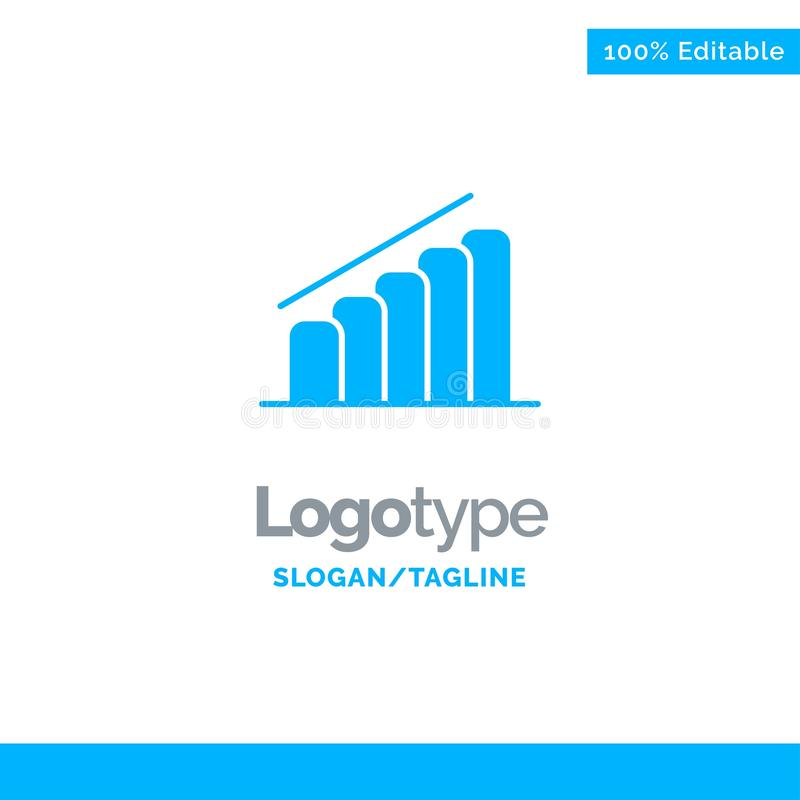 Chart, Progress, Report, Analysis Blue Solid Logo Template. Place for Tagline royalty free illustration