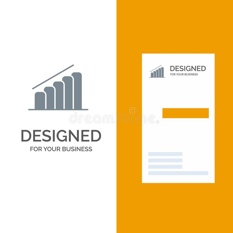 Chart, Progress, Report, Analysis Grey Logo Design and Business Card Template stock illustration