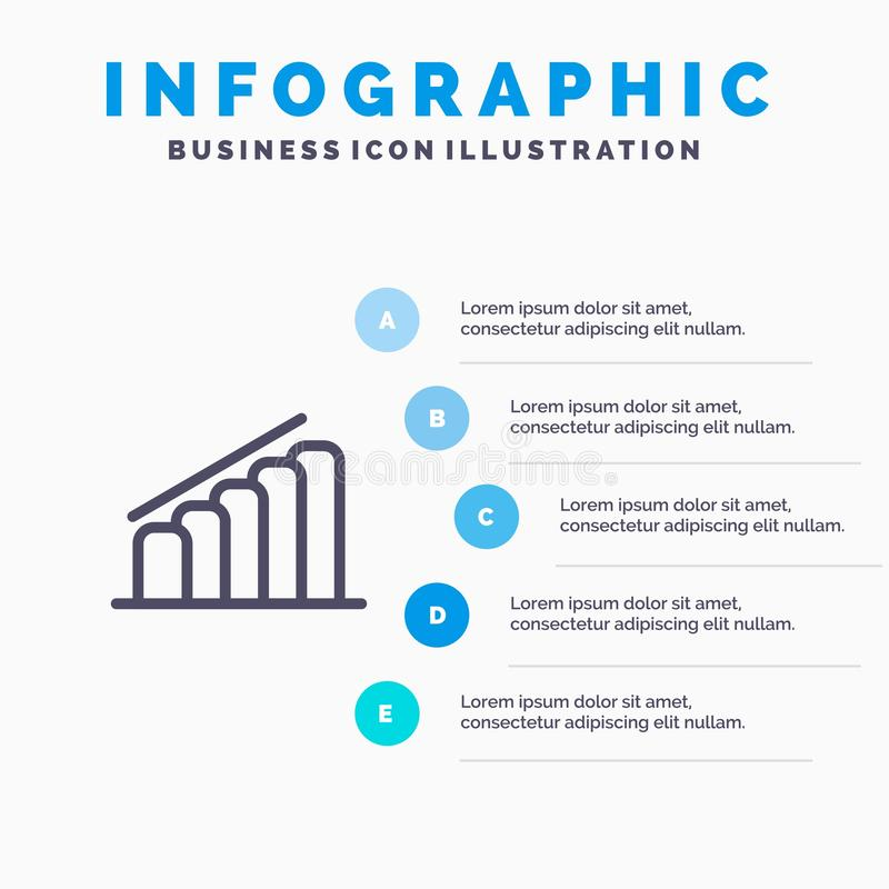 Chart, Progress, Report, Analysis Line icon with 5 steps presentation infographics Background stock illustration