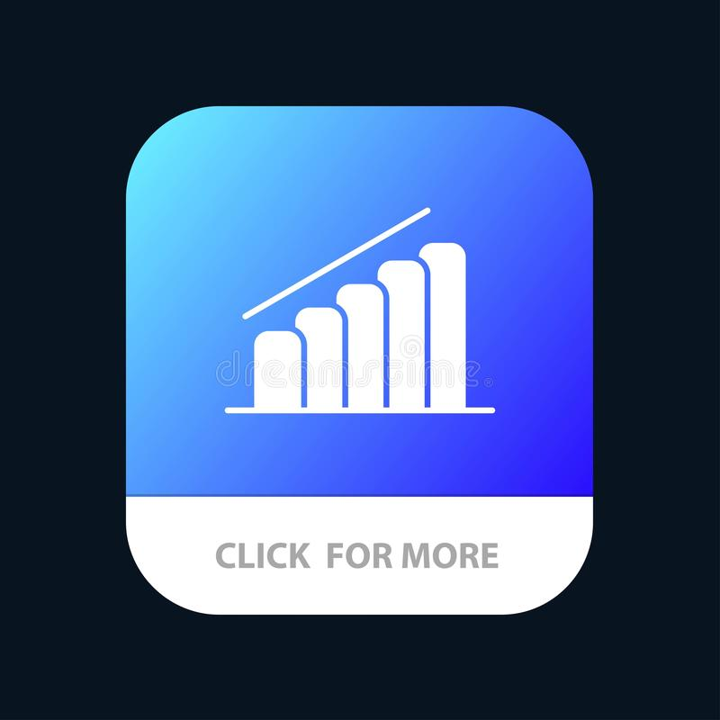 Chart, Progress, Report, Analysis Mobile App Button. Android and IOS Glyph Version royalty free illustration