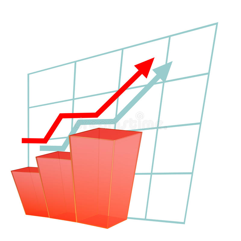Chart with a red arrow. Concept of success stock illustration