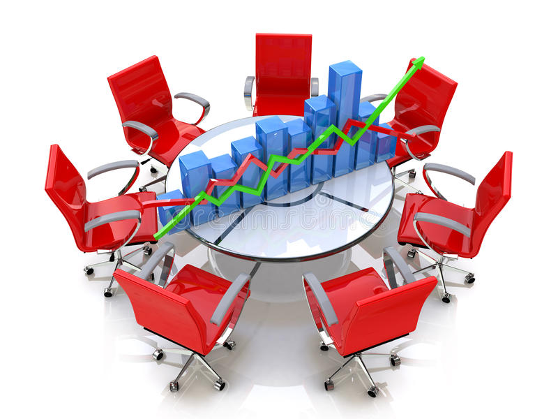 Chart at the round table. In the design of business-related information and discussions vector illustration