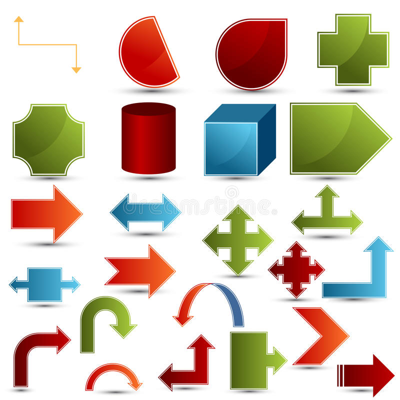 Chart Shapes. An image of a set of 3d chart shapes stock illustration