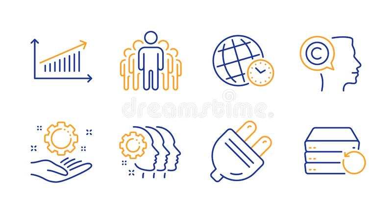 Chart, Time zone and Writer icons set. Employee hand, Electric plug and Group signs. Vector. Chart, Time zone and Writer line icons set. Employee hand, Electric stock illustration