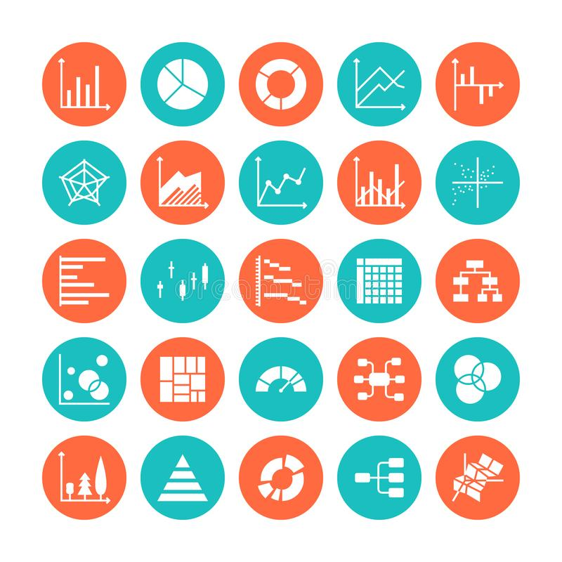 Chart types flat glyph icons. Line graph, column, pie donut diagram, financial report illustrations, infographic. Signs vector illustration