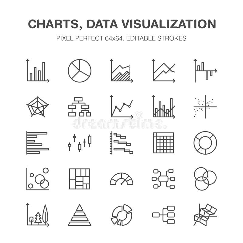 Chart types flat line icons. Linear graph, column, pie diagram, financial report vector illustrations, infographic. Thin stock illustration