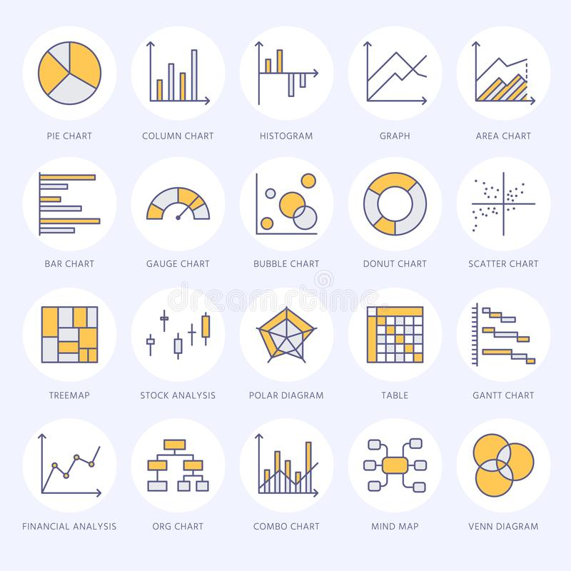Chart types flat line icons. Linear graph, column, pie donut diagram, financial report illustrations, infographic. Thin vector illustration