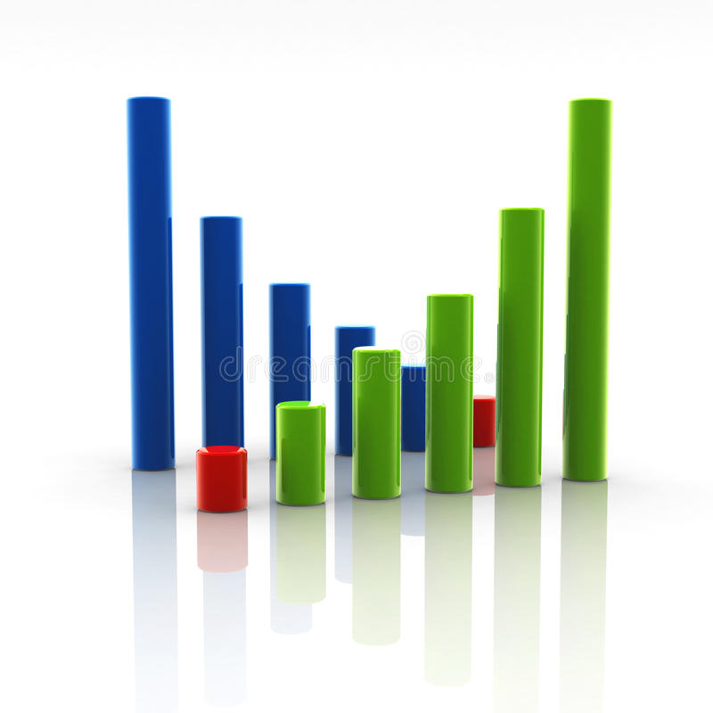 Chart up and down. 3D Illustration of business chart up and down royalty free illustration