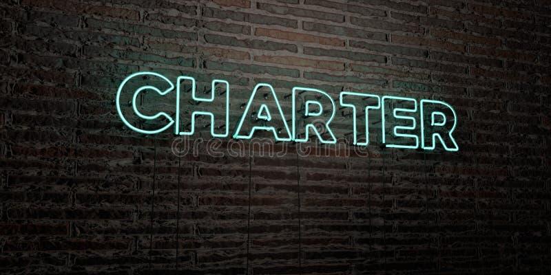 CHARTER - realistiskt neontecken på bakgrund för tegelstenvägg - 3D framförd fri materielbild för royalty stock illustrationer