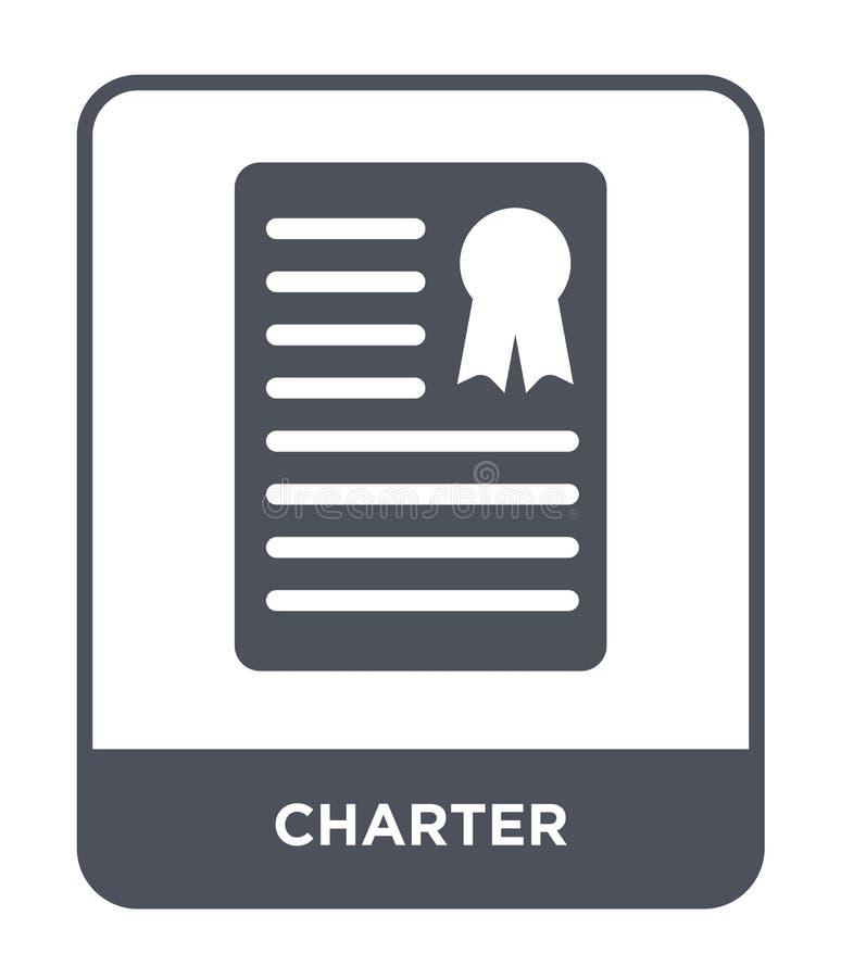 chartersymbol i moderiktig designstil chartersymbol som isoleras på vit bakgrund enkelt och modernt plant symbol för chartervekto vektor illustrationer