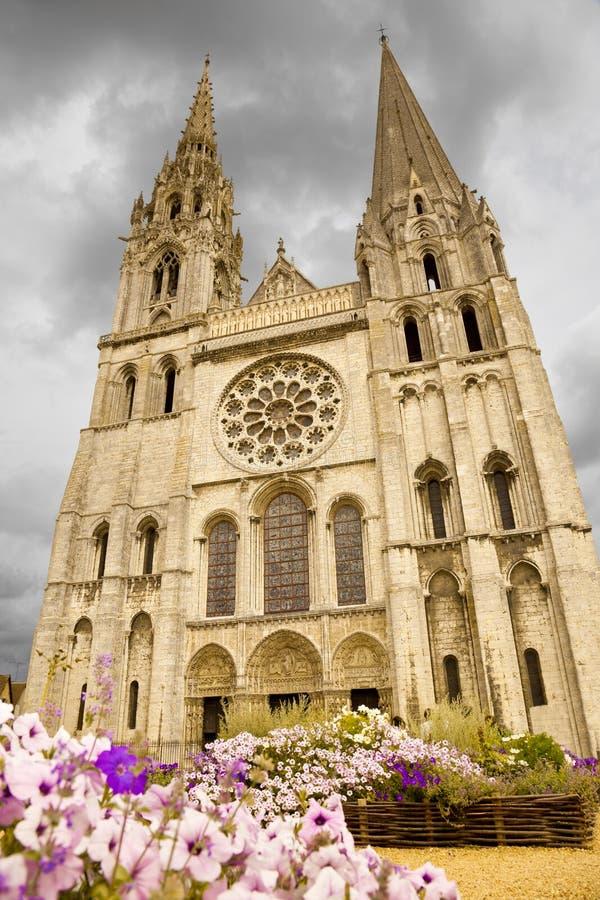 Chartes Cathedral facade stock photos