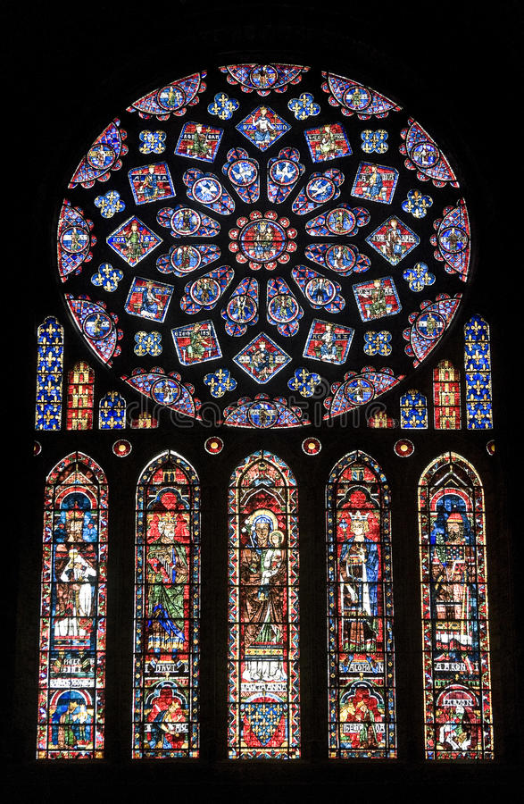 Chartres - Cathedral, stained glass window. Chartres (Eure-et-Loir, Centre, France) - Interior of the cathedral in gothic style: stained glass window (circa 13th stock photo
