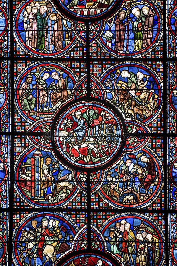 Chartres - Cathedral, stained glass window. Chartres (Eure-et-Loir, Centre, France) - Interior of the cathedral in gothic style: stained glass royalty free stock photos