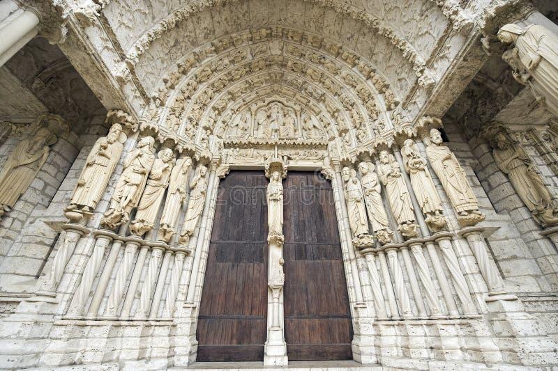 Chartres - fachada da catedral fotografia de stock