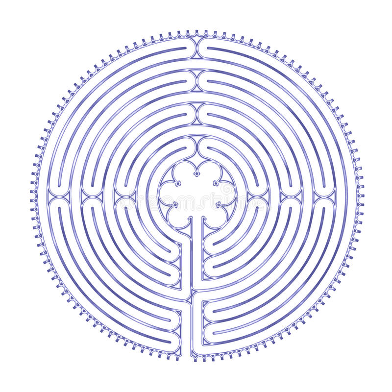 Chartres Labyrinth Harmony. Illustrated rendering of classic Chartres 11-circuit labyrinth. Created with a resonance pattern to suggest the harmonic qualities of