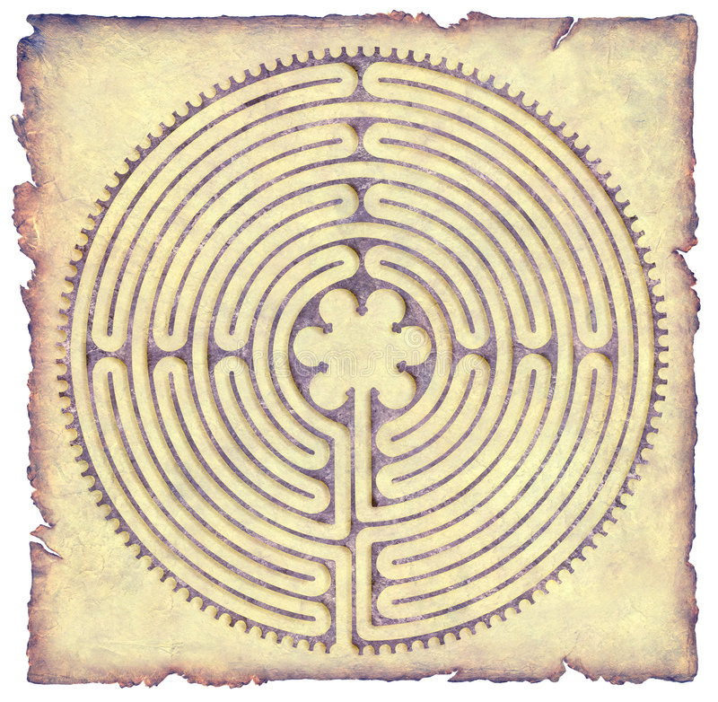 Chartres Labyrinth Parchment royalty free illustration
