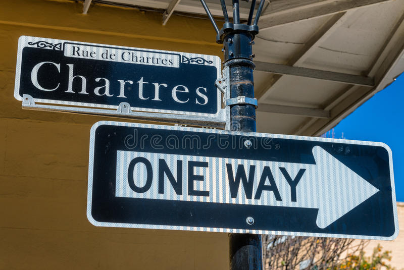 Chartres street sign in New Orleans, LA stock photos