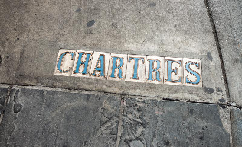 Chartres street signs in New Orleans royalty free stock photography
