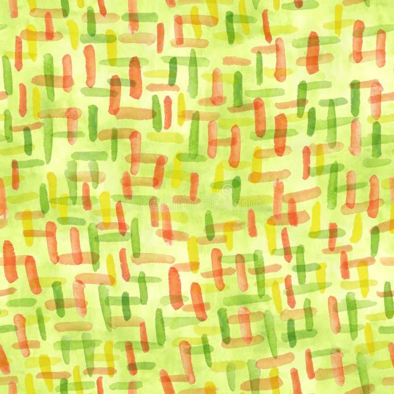 Chartreuse Bürstenanschläge des Frühlingsgrüns für das Scrapbooking Aquarell färbte Linie Grün und orange Beschaffenheit Ein naht vektor abbildung