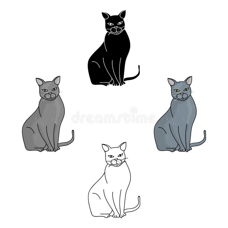 Chartreux icon in cartoon,black style isolated on white background. Cat breeds symbol stock vector illustration. stock illustration