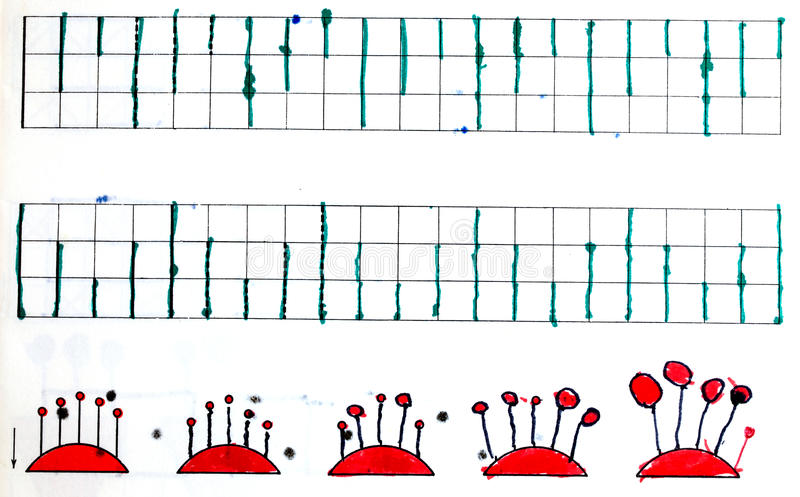 Charts in child`s notebook royalty free illustration