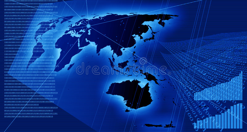 Charts and data on the world map stock illustration