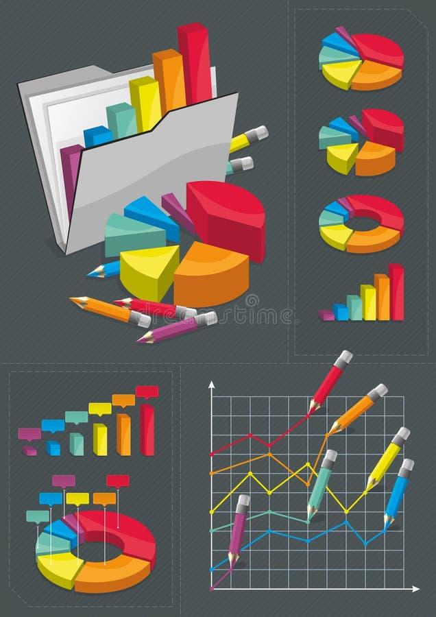 charts den färgrika infographic seten royaltyfri illustrationer
