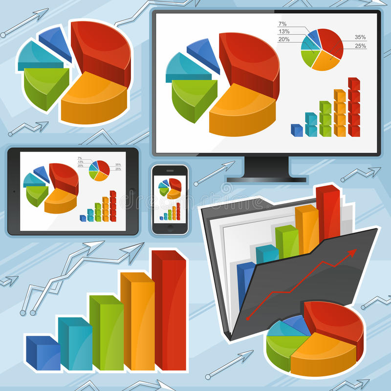 Charts And Devices Set Stock Photo
