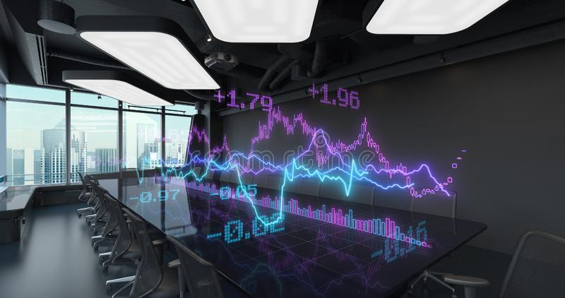 Charts Diagrams of Financial Statistics report placed on Table in Office Interior. Exchange trading Gambling concept royalty free stock photography