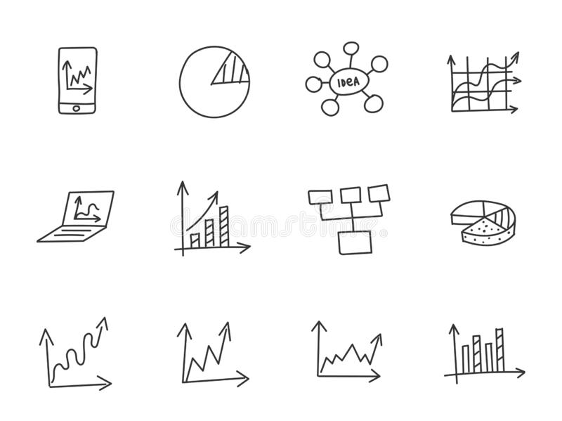 Charts and Diagrams. Ideas and processes. School of Business icons sketch set outline line drawing by hand. Hand drawn. Collection vector. On a black background vector illustration