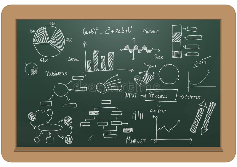 Charts and diagrams. Illustration of chalkboard with charts and diagrams vector illustration