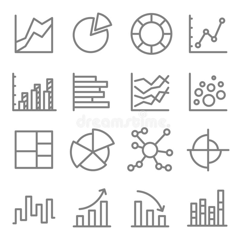 Charts and Diagrams Vector Color Line Icon Set. Contains such Icons as Bubble Chart, Column Chart, Pie Chart, Bar Chart and more. stock illustration