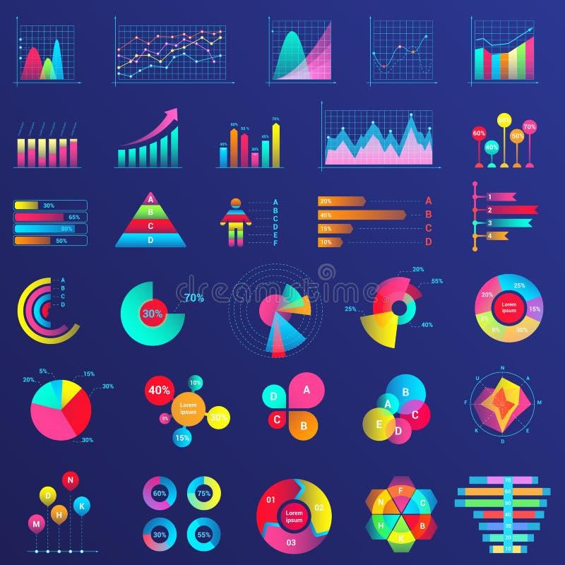 Charts, graphs, diagram infographics flat neon illustrations set stock illustration