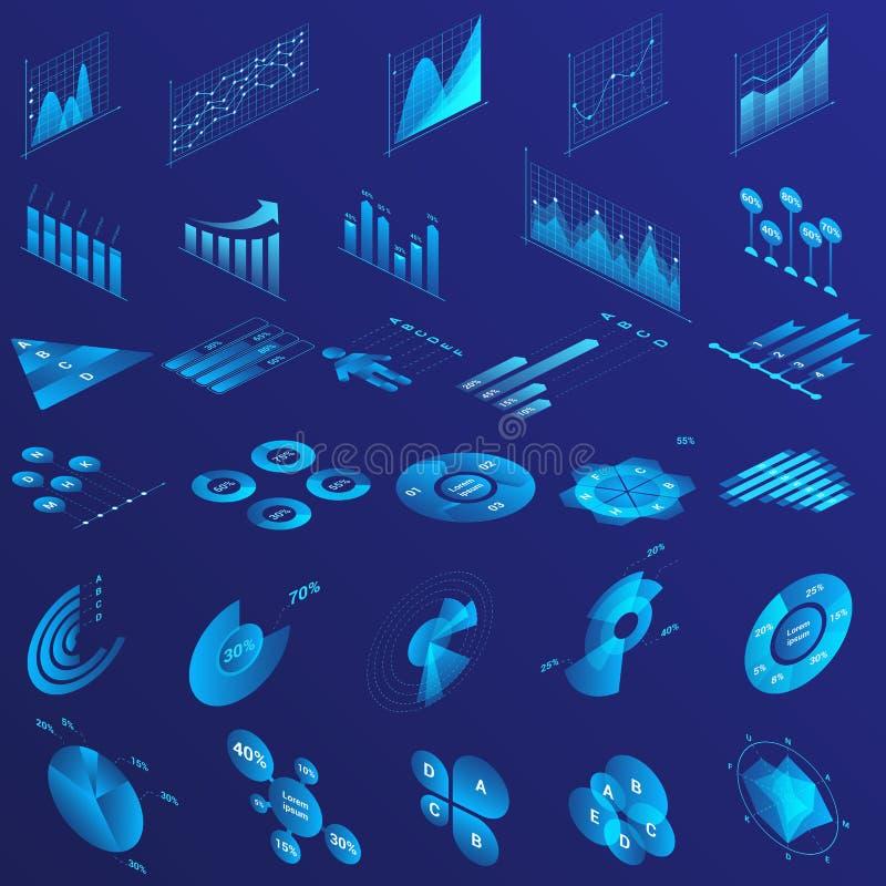 Charts, graphs, diagram isometric infographics flat neon illustrations set. Infographics isometric blue neon illustrations set. Graph arrow growth color icon vector illustration