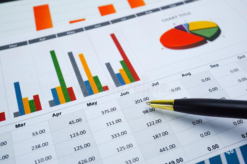 Charts Graphs paper. Financial development, Banking Account, Statistics, Investment Analytic research data economy. Stock exchange trading, Mobile office royalty free stock photo
