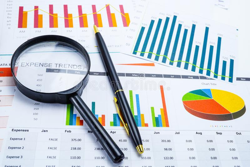 Charts Graphs paper. Financial development, Banking Account, Statistics, Investment Analytic research data economy. Stock exchange royalty free stock photography