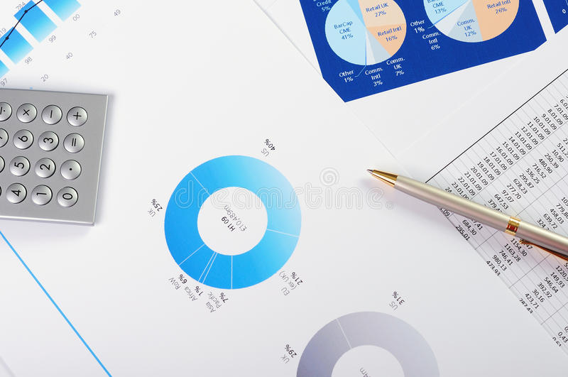 Charts and graphs of sales stock image