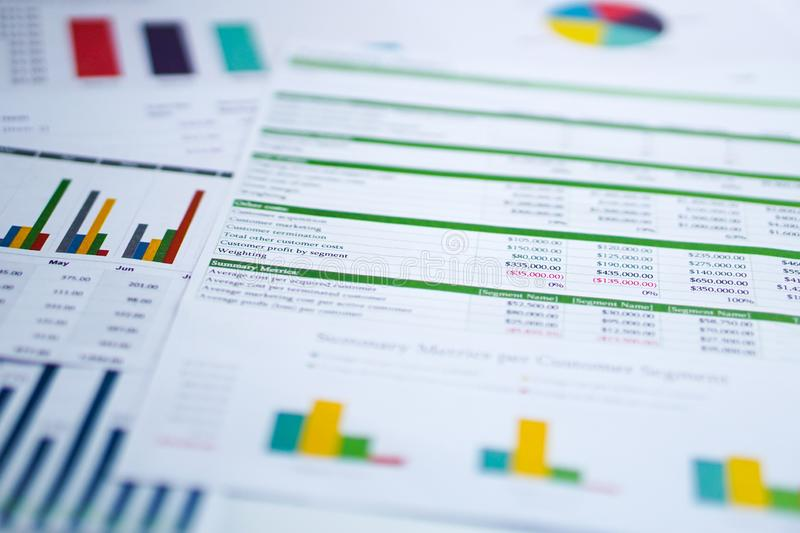 Charts Graphs spreadsheet paper. Financial development, Banking Account, Statistics, Investment Analytic research data. Charts Graphs spreadsheet paper stock photo