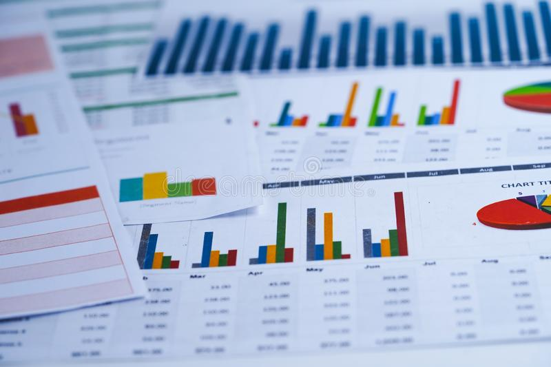 Charts Graphs spreadsheet paper. Financial development, Banking Account, Statistics, Investment Analytic research data. Charts Graphs spreadsheet paper stock images