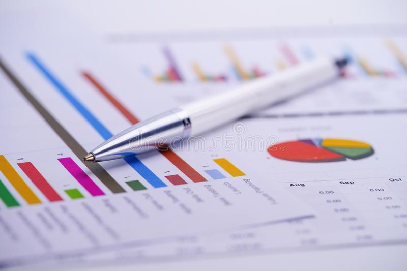 Charts Graphs spreadsheet paper. Financial development, Banking Account, Statistics, Investment Analytic research data economy,. Stock exchange trading royalty free stock photo